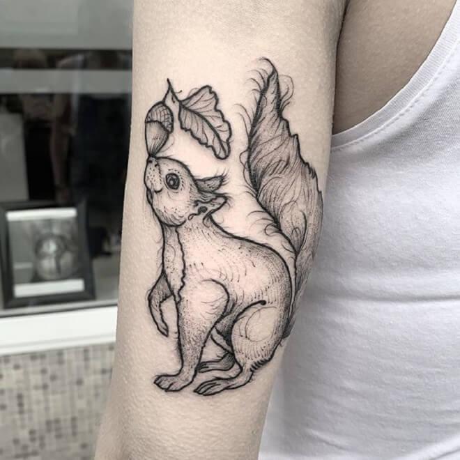 Squirrel Black Work Tattoo