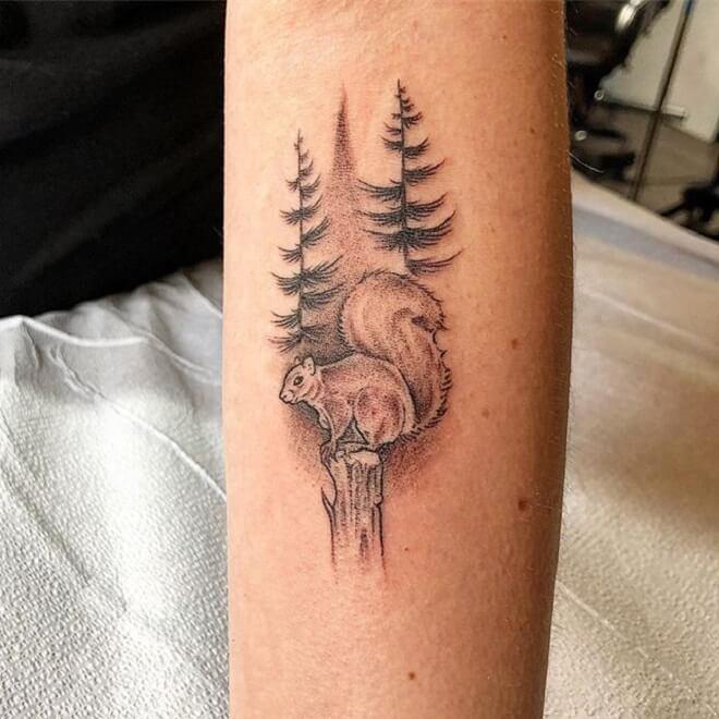 Squirrel Tree Tattoo