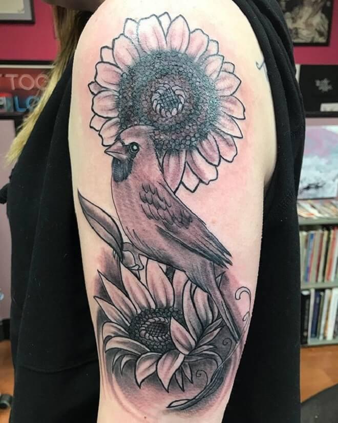 Sunflower Cardinal Tattoo