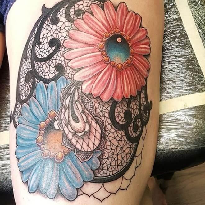 Sunflower Filigree Tattoo