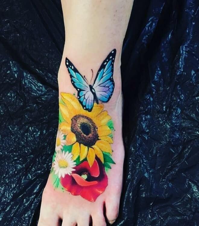 Sunflower Poppy Tattoo