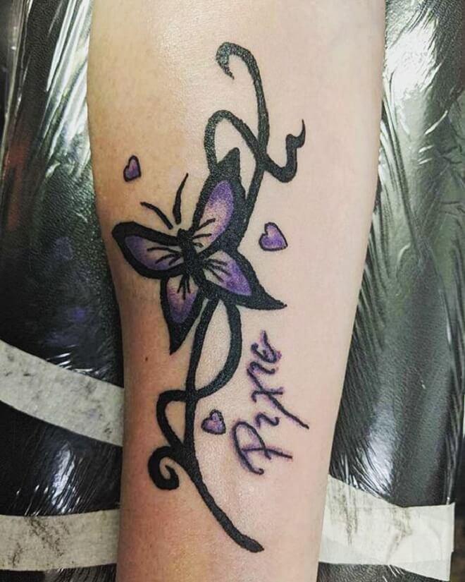 Swirls Purple Butterfly Tattoo