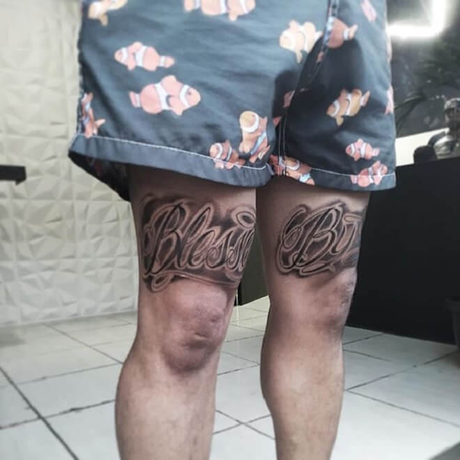 Thigh Blessed Tattoo