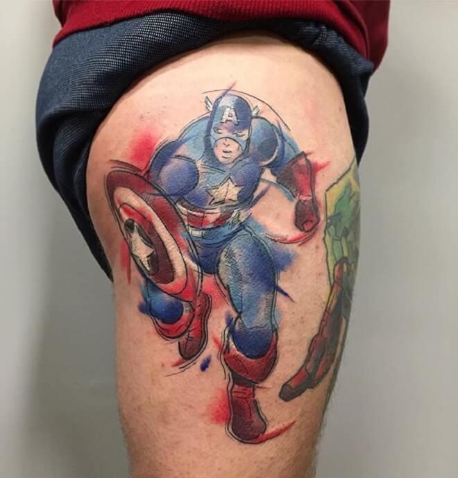 Thigh Captain America Tattoo