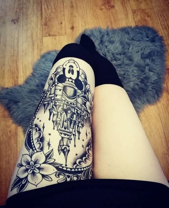 Thigh Castle Tattoo