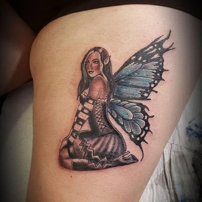 Thigh Fairy Tattoo