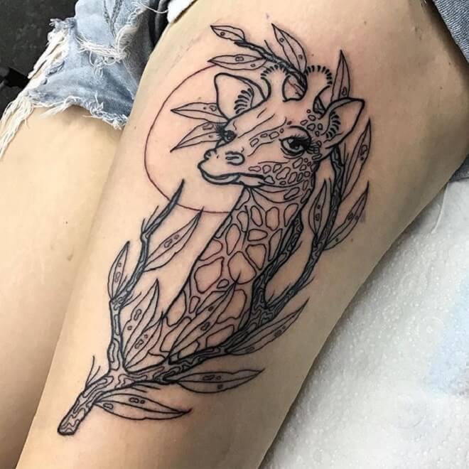 Thigh Giraffe Tattoo
