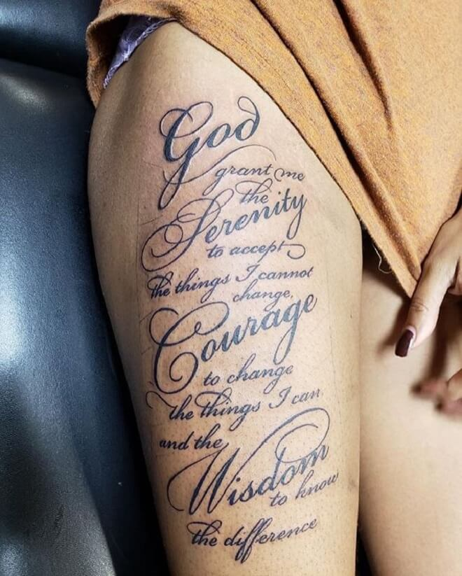 Thigh Serenity Prayer Tattoo