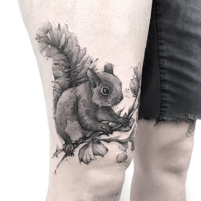 Thigh Squirrel Tattoo
