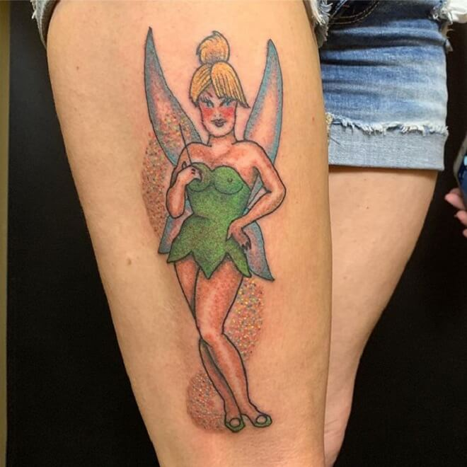 Thigh Tinkerbell Tattoo