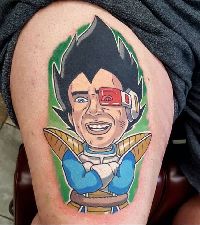 Thigh Vegeta Tattoo