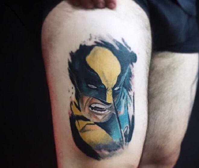 Thigh Wolverine Tattoo