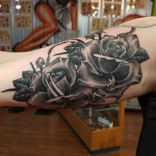 Traditional Rose Black Designs Tattoo