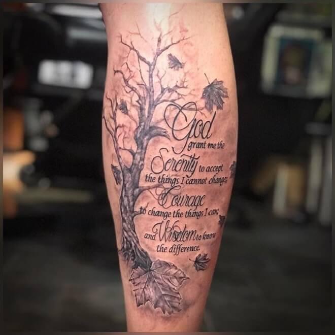 Tree Serenity Prayer Tattoo