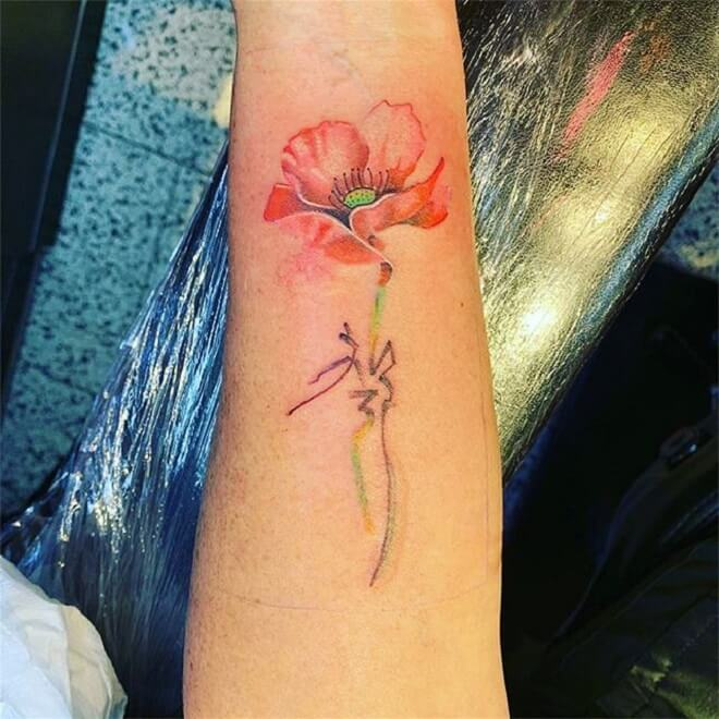 Watercolor Poppy Tattoo