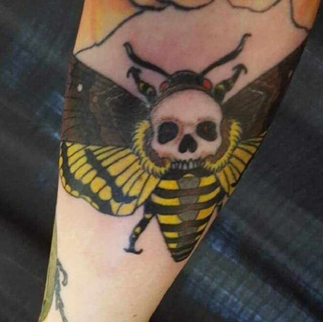 Yellow Death Moth Tattoo