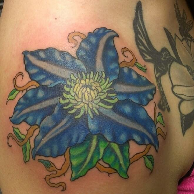 Amazing Flower Shoulder Tattoo