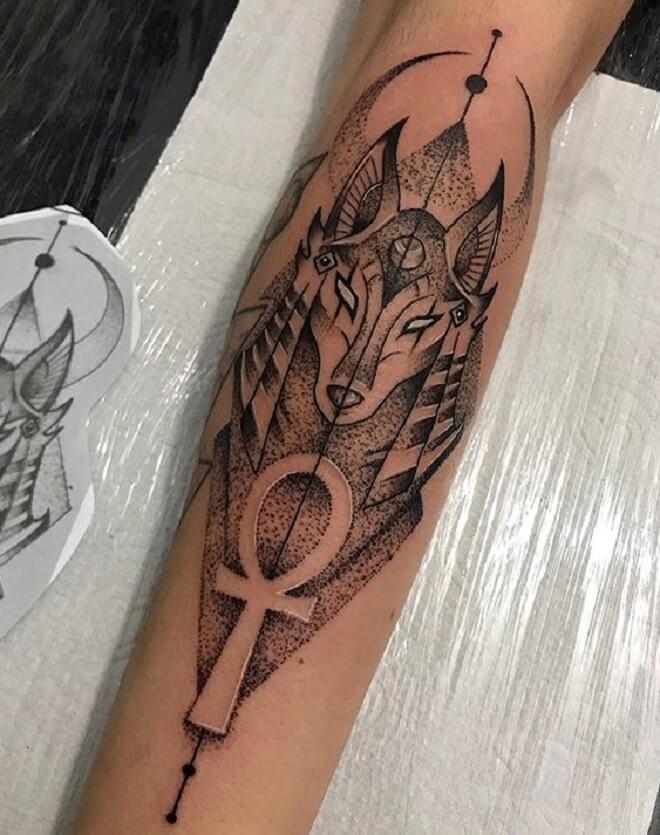 Anubis Dot Work Tattoo