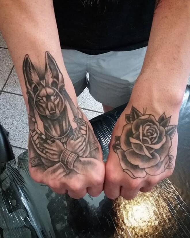 Anubis With Rose Tattoo