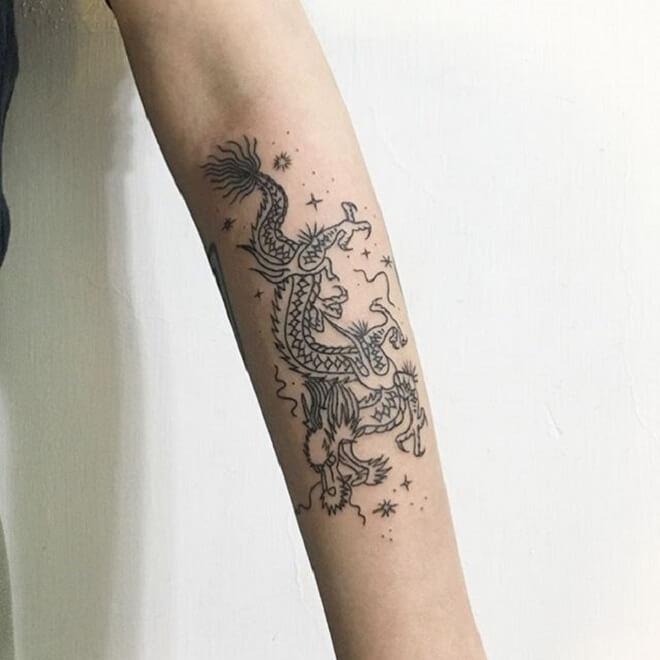 Arm Dragon Skull Tattoo