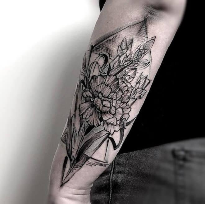 Arm Geometric Flower Tattoo