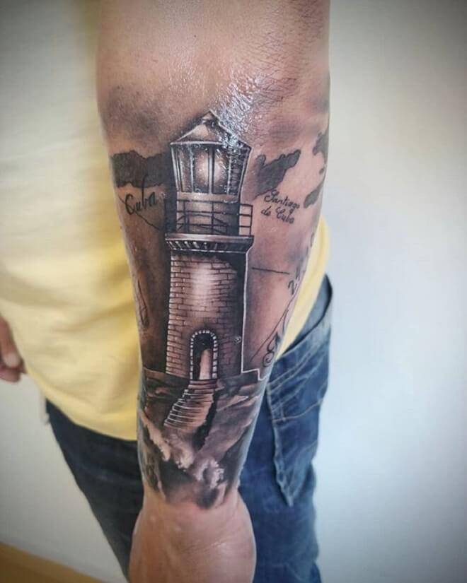 Arm Lighthouse Tattoo