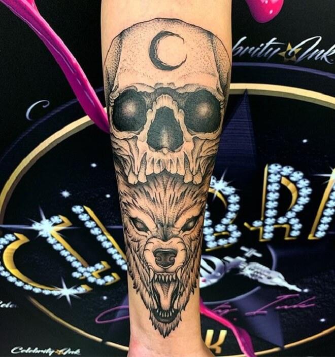 ec493c9ce Top 30 Wolf Skull Tattoos | Amazing Wolf Skull Tattoo Designs & Ideas