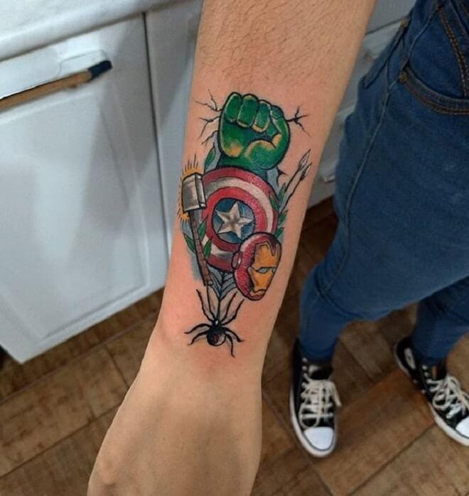 Avengers Simple Arm Tattoos