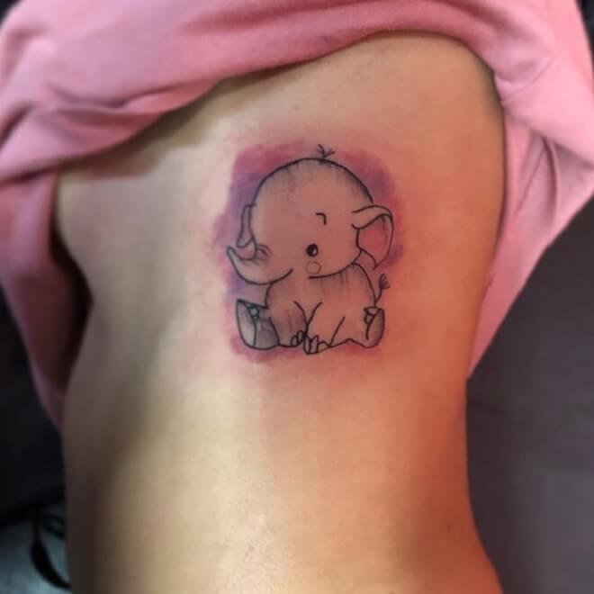 Baby Elephant Line Tattoo
