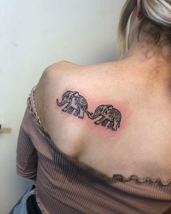 Back Baby Elephant Tattoo