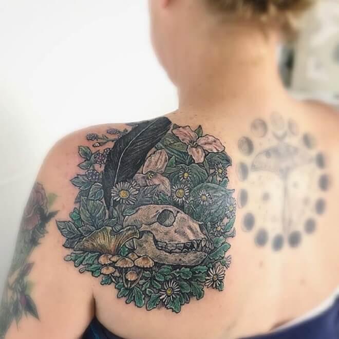 Back Bear Skull Tattoo