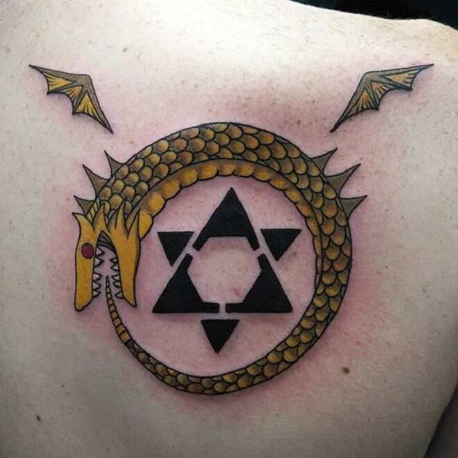 Back Ouroboros Tattoo