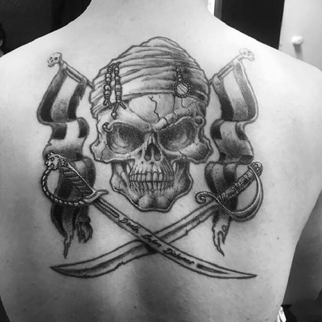 Back Pirate Skull Tattoo