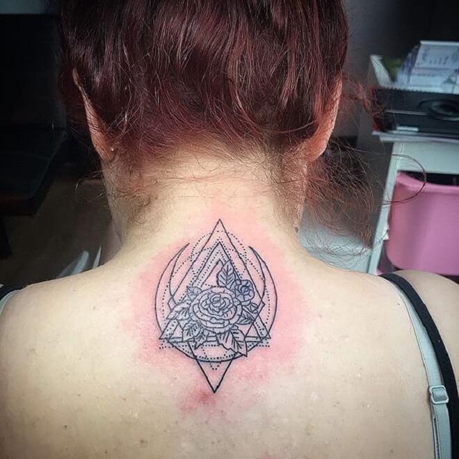 Back Side Geometric Flower Tattoo