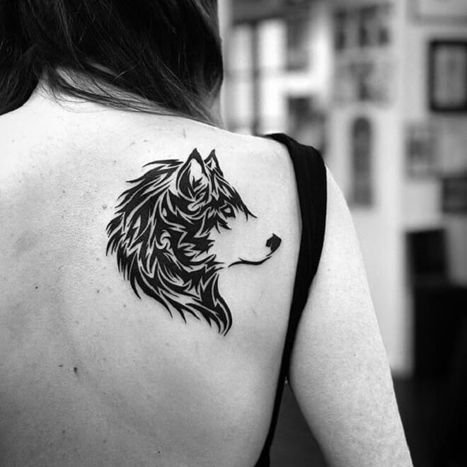 Back Tribal Wolf Tattoo