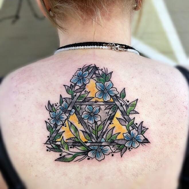 Back Triforce Flower Tattoo