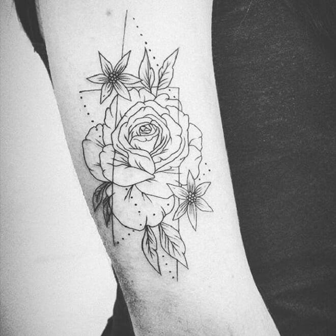 Black Geometric Flower Tattoo