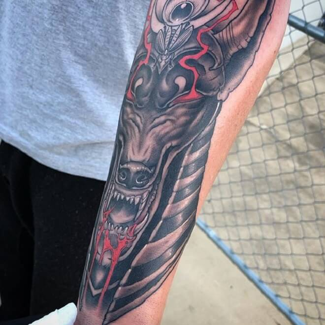 Black and Red Anubis Tattoo