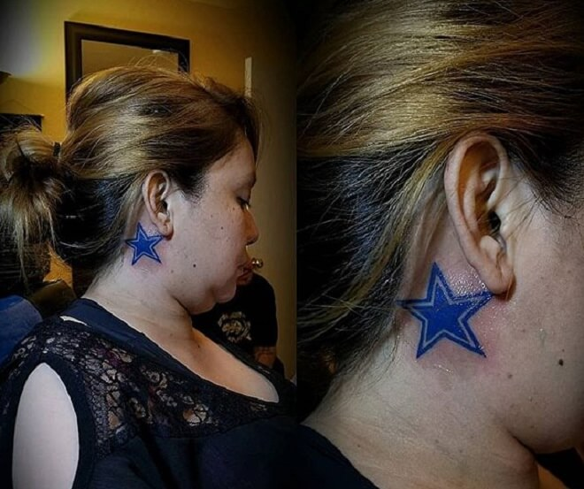 Behind the Ear Star Tattoo