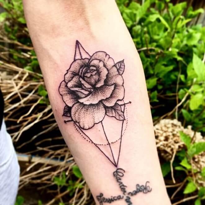 Best Geometric Flower Tattoo