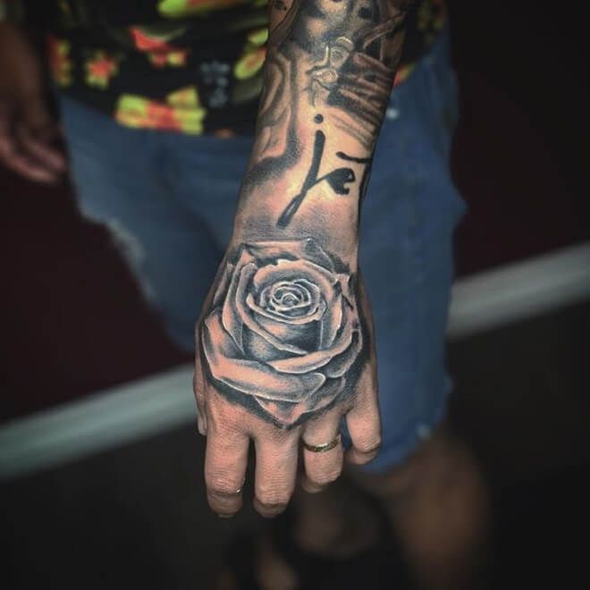 Best Rose Hand Tattoo