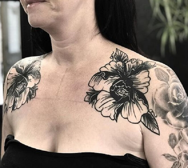 Black Flower Shoulder Tattoo