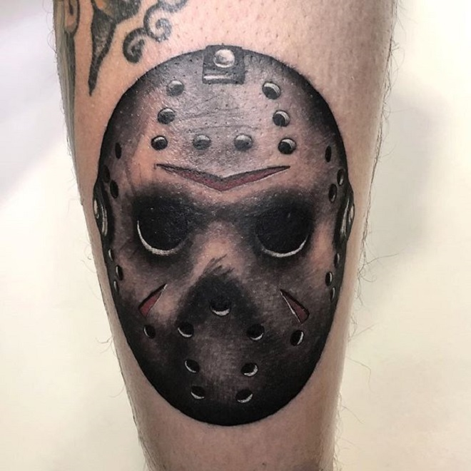 Black Jason Mask Tattoo