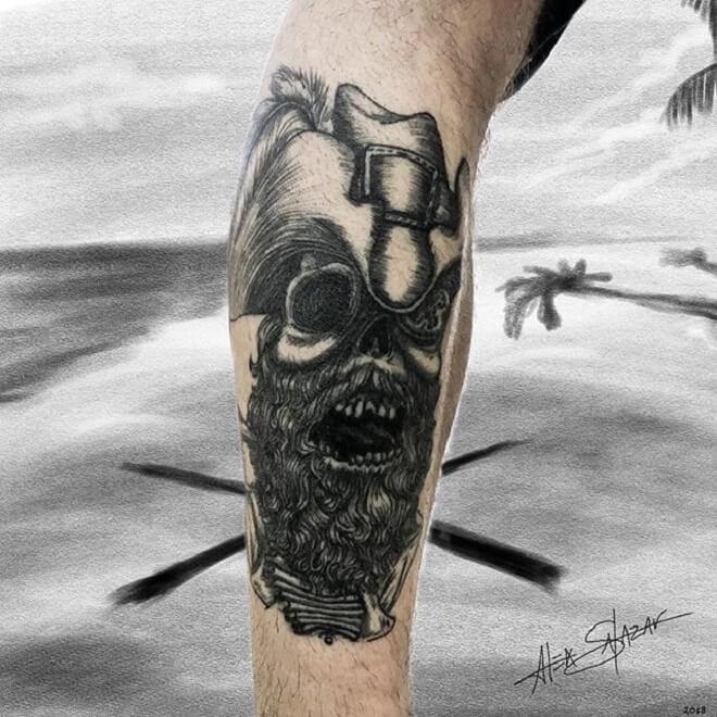 Black Pirate Skull Tattoo