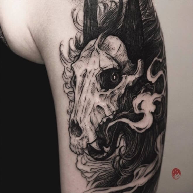Black Wolf Skull Tattoo