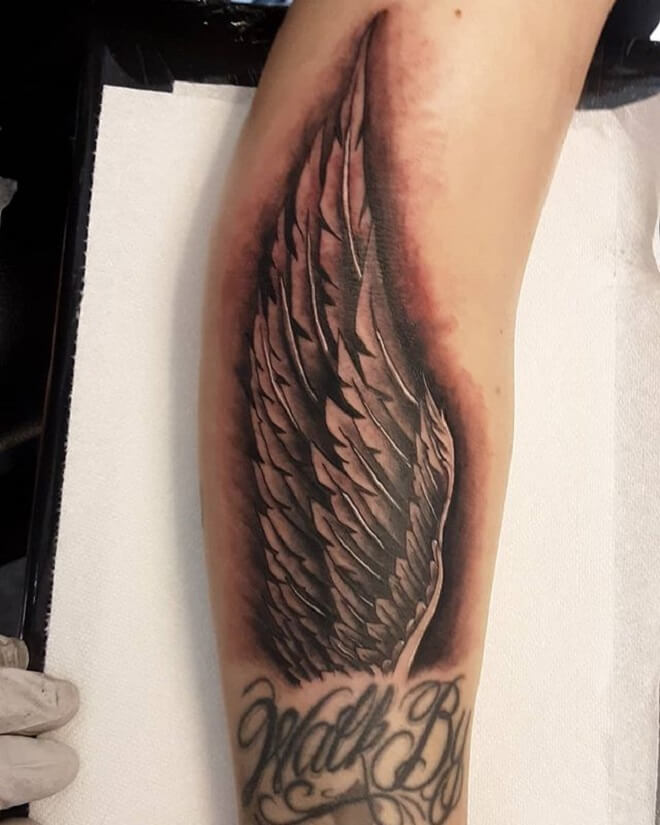 Black and Grey Wing Tattoo