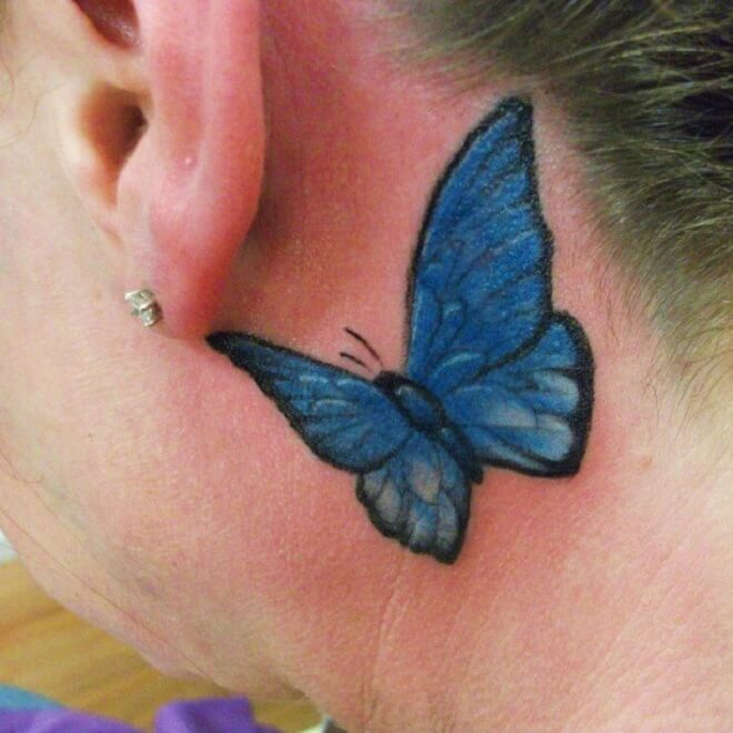 Blue Behind the Ear Tattoo