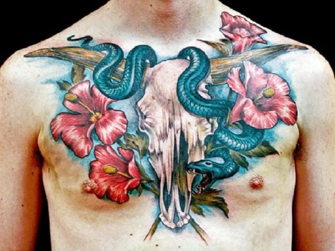 Bull With Snake Tattoo