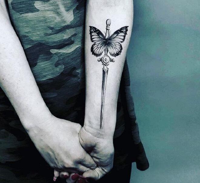 Butterfly Dagger Tattoo