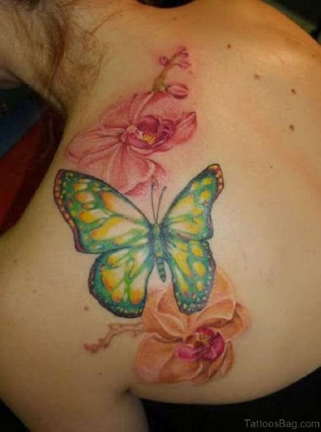 Butterfly Flower Shoulder Tattoo